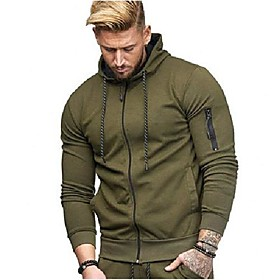 Men's Hoodie Solid Colored Hoodies Sweatshirts  Navy Wine Red Light Gray / Fall / Winter