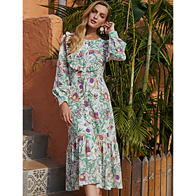 Women's A-Line Dress Midi Dress - Long Sleeve Floral Ruffle Print Fall Winter Casual Going out Lantern Sleeve 2020 Green S M L XL
