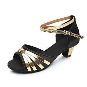 Women's Latin Shoes Heel Cuban Heel Satin Black / Gold / Black / Silver / Red
