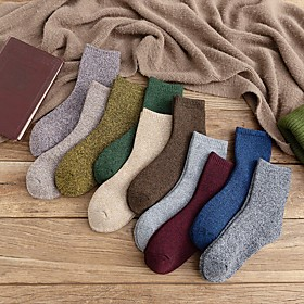 Men's Warm Socks - Solid Colored Black Blue Yellow One-Size