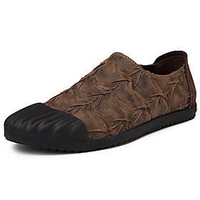 Men's Loafers  Slip-Ons Classic / Casual Daily Outdoor Faux Leather Breathable Non-slipping Wear Proof Light Brown / Black Spring / Fall