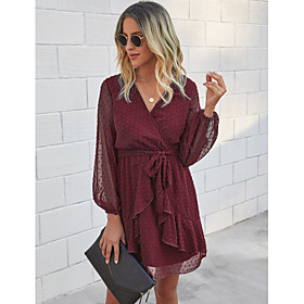 Women's A-Line Dress Short Mini Dress - Long Sleeve Solid Color Ruffle Fall V Neck Casual Lantern Sleeve Slim 2020 Black Blue Yellow Wine Green S M L XL