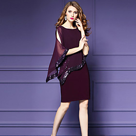 Women's A-Line Dress Knee Length Dress - 3/4 Length Sleeve Solid Color Sequins Mesh Fall Casual Party Batwing Sleeve Slim 2020 Black Red S M L