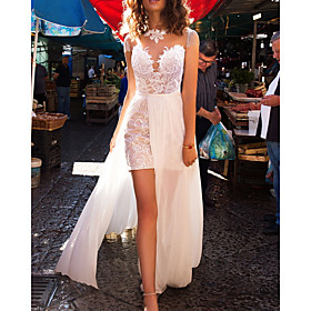 A-Line Wedding Dresses Jewel Neck Sweep / Brush Train Detachable Lace Tulle Sleeveless Beach with Appliques 2020