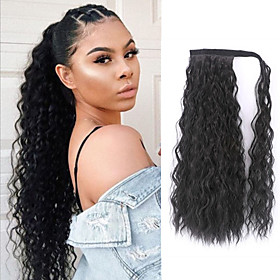 Synthetic Wig Water Wave With Ponytail Wig Long Very Long Black Synthetic Hair 26 inch Women's Fashionable Design Party Middle Part Black