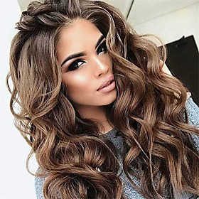 Synthetic Wig Curly Middle Part Wig Very Long Brown Synthetic Hair Women's Classic Exquisite Fluffy Brown