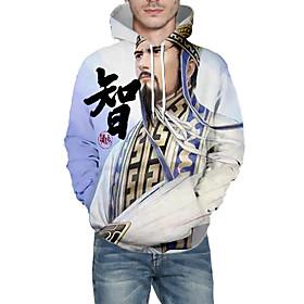 Men's Weekend Pullover Hoodie Sweatshirt Graphic Portrait Hooded Casual Hoodies Sweatshirts  Long Sleeve Blue