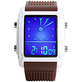 men's rectangle dial sports wrist watches with 7 colors optional led backlight multifunctional alarm stopwatch 12/24h rubber strap watch (brown)