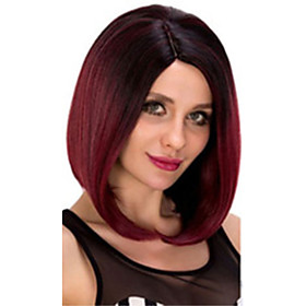Synthetic Wig Straight Bob Pixie Cut Asymmetrical Wig Short Black / Red Synthetic Hair 14 inch Women's Adorable Natural Hairline Exquisite Red Black