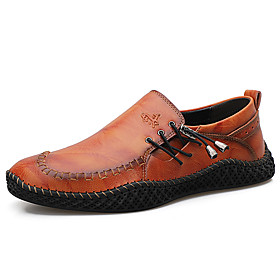 Men's Loafers  Slip-Ons Casual Daily Outdoor Walking Shoes Leather Wear Proof Dark Brown / Black / Burgundy Spring / Fall