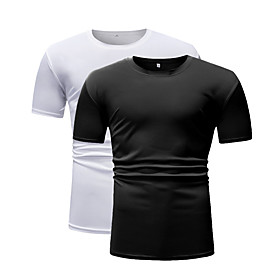 Men's 2pcs Daily T-shirt Solid Colored Short Sleeve Tops Round Neck Black / White / Sports