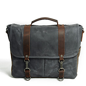 Men's Bags Canvas Briefcase / Top Handle Bag Zipper for Office  Career Dark Gray