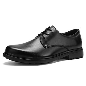 Men's Loafers  Slip-Ons Business / Vintage Daily Office  Career Leather Waterproof Non-slipping Black Spring / Fall