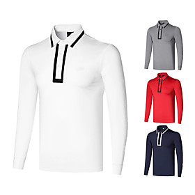 Men's 1 Piece Golf Polo Shirts Solid Color UV Sun Protection Breathable Quick Dry Autumn / Fall Spring Winter Sports Outdoor / Long Sleeve / Stretchy