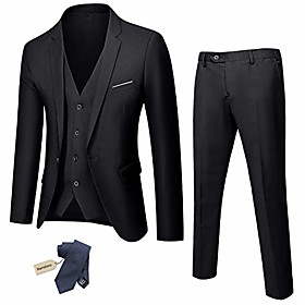 butamp; #39;s slim fit 3 piece suit, one button jacket vest pants set with tie, solid party wedding dress blazer, tux waistcoat and trousers black