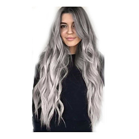Synthetic Wig Body Wave Middle Part Wig Long Grey Synthetic Hair 26 inch Women's Fashionable Design Adorable Natural Hairline Dark Gray White