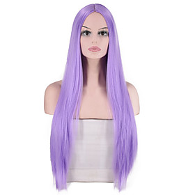 Synthetic Wig Straight kinky Straight Middle Part Wig Long Light golden Light Brown PinkRed Silver grey Bright Purple Synthetic Hair Women's Fashionable Design