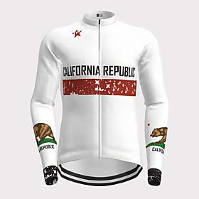Men's Long Sleeve Cycling Jersey White Novelty Bike Jersey Top Mountain Bike MTB Road Bike Cycling Quick Dry Sports Clothing Apparel / Micro-elastic