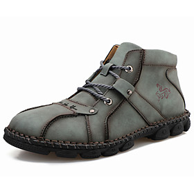 Men's Boots Casual Daily Outdoor Walking Shoes Leather Wear Proof Booties / Ankle Boots Light Brown / Black / Dark Green Fall / Winter