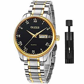 men's classic day date watch,fashion luxury waterproof stainless steel business casual wrist watch,men quartz analog dress watch for men clearance, brand black