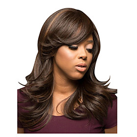 Synthetic Wig Loose Curl With Bangs Wig Long Black / Gold Synthetic Hair 22 inch Women's Fashionable Design Soft Party Blonde Black