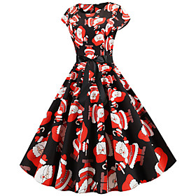 Women's A-Line Dress Midi Dress - Short Sleeve Print Zipper Print Fall Vintage Christmas 2020 White Black Blue Red Orange Green Rainbow S M L XL XXL
