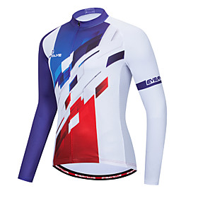 Men's Long Sleeve Cycling Jersey White Bike Quick Dry Sports Geometic Clothing Apparel / Micro-elastic