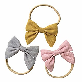baby girl headbands with bows, super soft nylon hair bands for newborn, infant, toddler