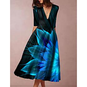 Women's Swing Dress Knee Length Dress - Sleeveless Floral Print Spring Fall V Neck Elegant 2020 Blue M L XL XXL 3XL