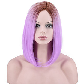 Synthetic Wig Straight kinky Straight Asymmetrical Wig Short Lavender Synthetic Hair Women's Fashionable Design Party Easy to Carry Purple
