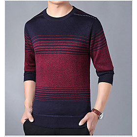 Men's Basic Knitted Striped Pullover Long Sleeve Sweater Cardigans Crew Neck Fall Winter Red Yellow Light Blue
