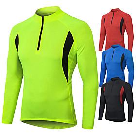 Men's Long Sleeve Cycling Jersey Winter Polyester Black Blue Green Bike Sweatshirt Jersey Top Mountain Bike MTB Road Bike Cycling Windproof Breathable Quick Dr