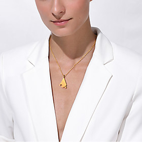 Personalized Customized Women's Pendant Necklace Stainless Steel Geometrical Triangle 1pc / pack Golden Silver