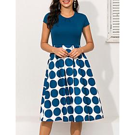 Women's A-Line Dress Knee Length Dress - Short Sleeve Polka Dot Geometric Print Ruched Patchwork Print Spring  Summer 1950s Elegant Going out 2020 Blue S M L X