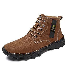Men's Boots Casual Daily Outdoor Walking Shoes Leather Wear Proof Booties / Ankle Boots Dark Brown / Black / Dark Green Fall / Winter