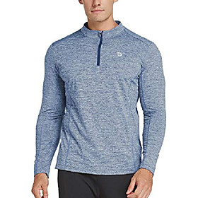 men's 1/4 zip pullover thermal running shirts long sleeve fleece linning heather sky blue l