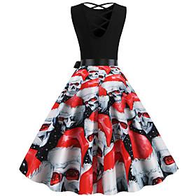 Halloween Women's A-Line Dress Knee Length Dress - Sleeveless Skulls Print Backless Bow Patchwork Fall Vintage Slim 2020 White Black Red Blushing Pink S M L XL