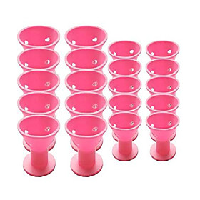 20pcs professional hair curlers rollers set magic diy hair style tool accessories-no heat no damage to hair for women lady girls(pink)