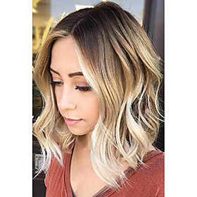short curly ombre blonde bob hair wigs for women synthetic middle part wig with brown roots party costume cosplay wig (ombre blonde-9143)
