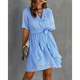 Women's A-Line Dress Short Mini Dress - Half Sleeve Solid Color Ruffle Summer V Neck Casual 2020 Black Blue Yellow Wine Army Green Light Brown Light Blue S M L