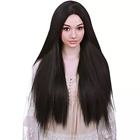 Cosplay Wig Yaki Lace Front Straight Black kinky Straight Asymmetrical Lace Front Wig Very Long Black Synthetic Hair Women's Anime Cosplay Exquisite Black