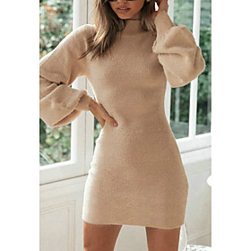 Women's Sheath Dress Short Mini Dress - Long Sleeve Solid Color Fall Elegant Slim 2020 Khaki S M L XL