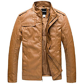 men's vintage stand collar pu leather jacket x-large brown