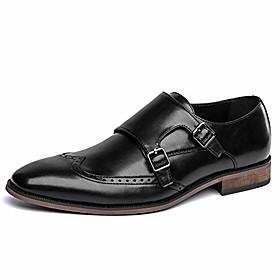 men's black loafer slip on double buckle dress shoes(8.5(d,m) us,black)