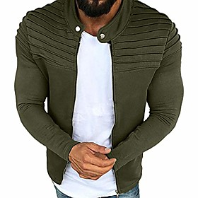 men's jacket, solid color striped pleated panel outwear autumn winter slim fit zipper long sleeve top coat (xxxx-large, army green)