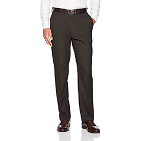 men's jm haggar sharkskin expandable waist classic fit dress pant, chocolate, 38wx34l