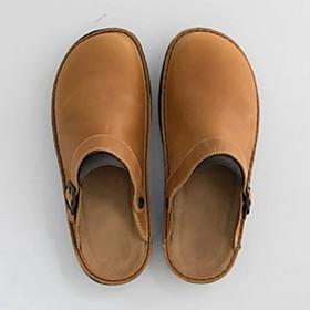 Men's Clogs  Mules Casual Daily PU Black / Khaki / Coffee Summer / Square Toe