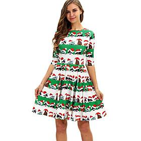 Women's A-Line Dress Knee Length Dress - Half Sleeve Print Patchwork Print Spring Fall Elegant 2020 Green S M L XL XXL