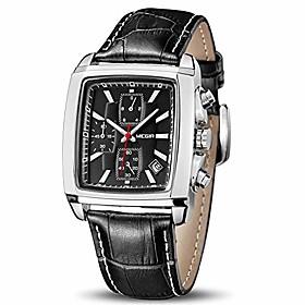men's business analog chronograph luminous rectangle quartz watch with stylish black leather strap for sport amp; work