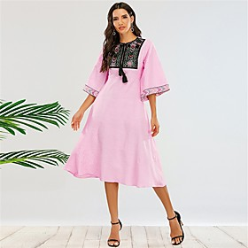 Women's A-Line Dress Midi Dress - Half Sleeve Solid Color Fall Casual Flare Cuff Sleeve 2020 Blushing Pink XS S M L XL